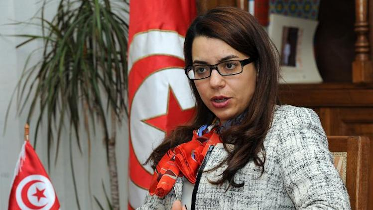 Tunisian Minister of Tourism Amel Karboul during an interview with foreign media on March 14, 2014 in Tunis