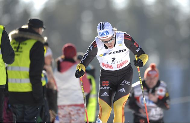 Second placed Tino Edelmann of Germany competes during the men's Nordic Combined Gundersen 10km World Cup race at the Lahti Ski Games in Lahti on March 3, 2012. AFP PHOTO / LEHTIKUVA / Martti Kainulai