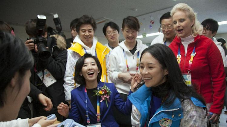 IMAGE DISTRIBUTED FOR SPECIAL OLYMPICS - Na Kyung-Won, front-left, Chairwoman of the games Organizing Committee, Zhang Ziyi, Chinese actress, front-right, and Cindy McCain, rear-right, are seen during a visit to the Healthy Athletes Program of the 2013 PyeongChang Special Olympics World Winter Games, in Gangneung, S. Korea on the third day of the competition, Thursday, Jan. 31, 2013. (Manchul Kim/AP Images for Special Olympics)
