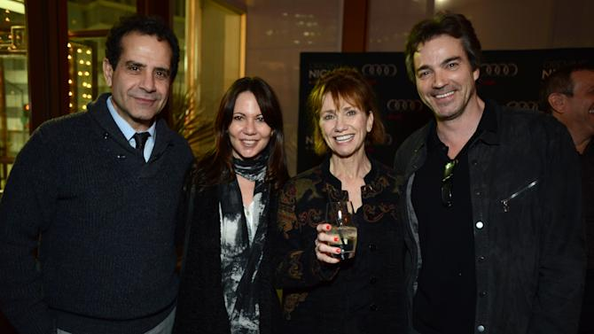 """From left, Tony Shalhoub, Leslie Urdang, Kathy Baker and Jon Tenney attend the opening night of """"The Gift"""" at the Geffen Playhouse on Wednesday, Feb. 6, 2013 in Westwood, Calif. (Photo by Jordan Strauss/Invision/AP Images)"""