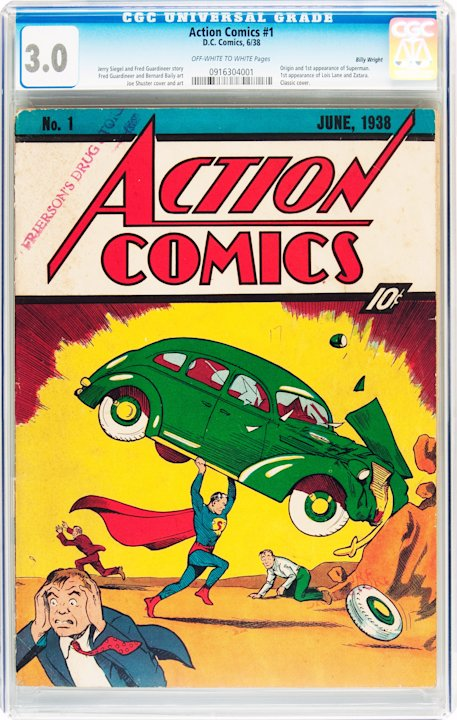 This Feb. 13, 2012 handout photo provided by Heritage Auction shows the CGC-Certified 3.0 copy of Action Comics #1 from the Billy Wright Collection at Heritage Auctions in Dallas,Texas. On Wednesday,