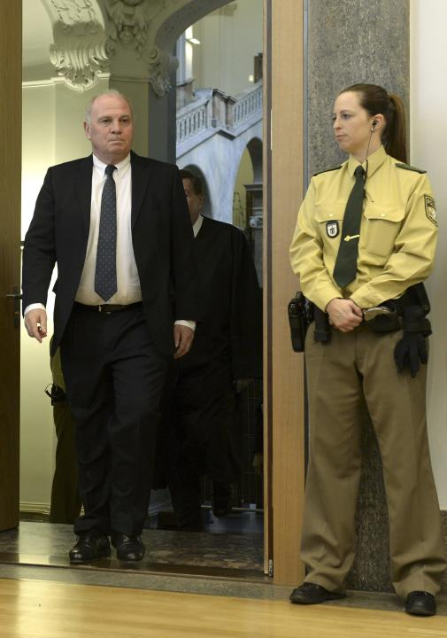 Bayern Munich President Hoeness arrives for second day of tax evasion trial at regional court in Munich