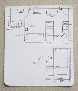 The couple's hand-drawn floor plan.