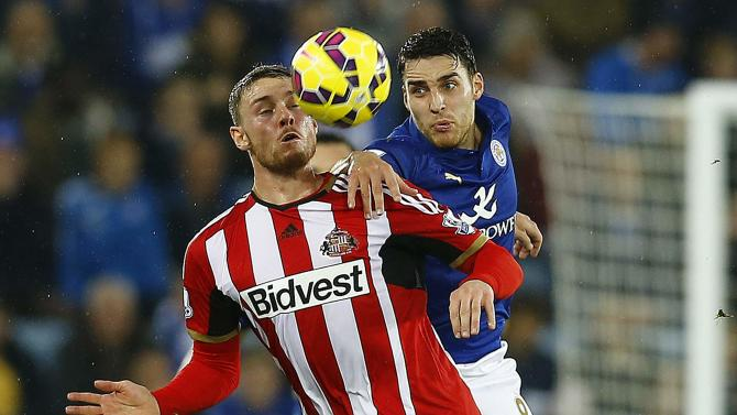 Leicester City's James challenges Sunderland's Wickham during their English Premier League soccer match in Leicester