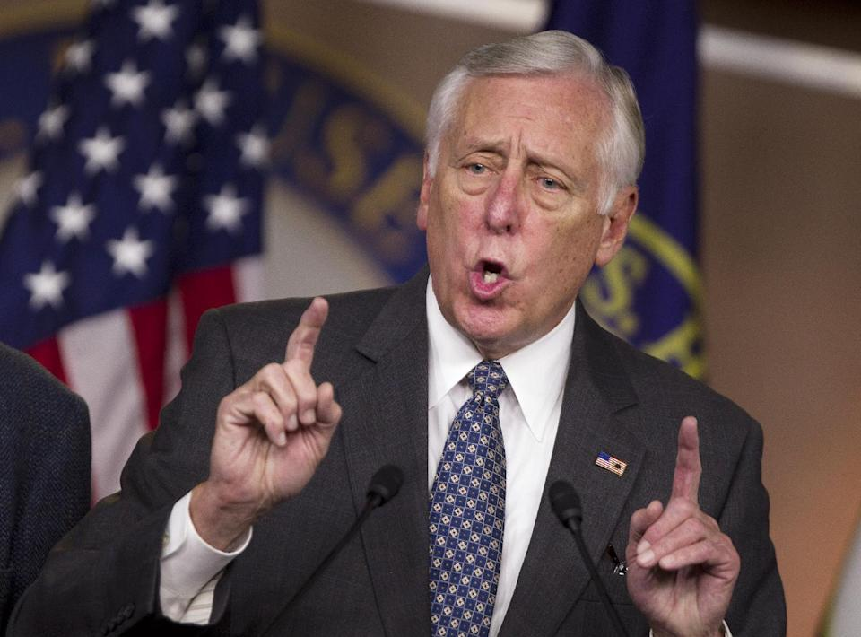 House Minority Whip Rep. Steny Hoyer, D-Md., gestures during a news conference on the payroll tax cut on Capitol Hill on Thursday, Dec. 22, 2011 in Washington.  (AP Photo/Evan Vucci)