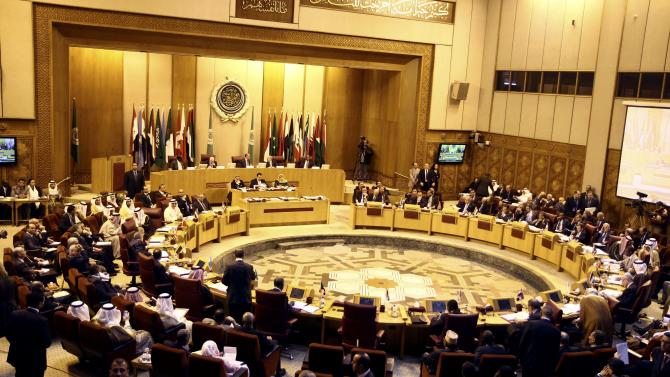 """Arab Foreign Ministers meet at the Arab League building in Cairo, Egypt, Sunday, March 9, 2014. Arab League chief Nabil Elaraby has urged Arab countries to take a """"firm stand"""" against Israel's demand that the Palestinians recognize it as a Jewish state, calling it a deviation from agreed-upon framework for talks. The Palestinians fear the demand is an attempt to restrict possible return options for Palestinian refugees and the rights of Israel's large Arab minority. (AP Photo/Ahmed Gomaa)"""