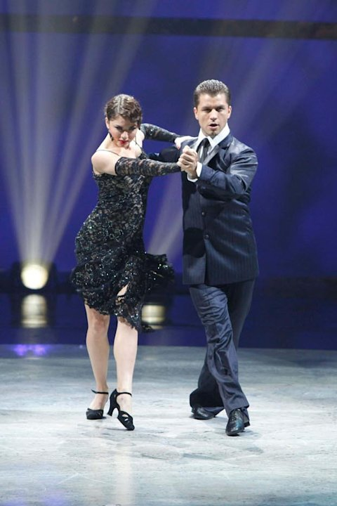 "Contestant Caitlynn Lawson and All-Star Pasha Kovalev perform an Argentine Tango routine to ""Malajunta,"" choreographed by Miriam Larci and Leonardo Barrionuevo on ""So You Think You Can Dance."""