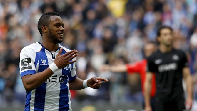 Porto's Hernani Fortes celebrates his goal against Academica during their Portuguese Premier League soccer match at Dragao stadium in Porto