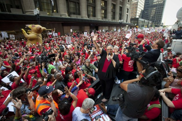 Chicago Teachers Union President Karen Lewis takes a break from negotiations over teachers' contracts with the Chicago Board of Education to address a rally of thousands of public school teachers on T