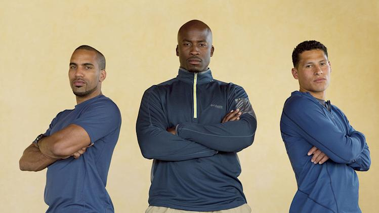 "The Football Players:  Robert Ortiz, Akbar Gbaja-Biamila, and Ricky Sharpe compete in ""Expedition Impossible."""