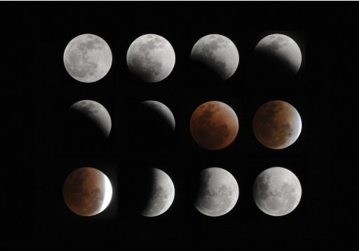 A composite of 12 pictures shows a full lunar eclipse over the skies in Hefei