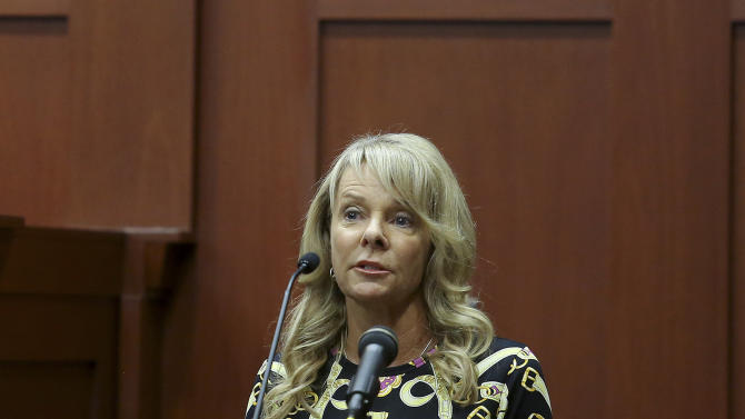 Witness Jane Surdyka gives her testimony during George Zimmerman's trial in Seminole circuit court in Sanford, Fla. Wednesday, June 26, 2013. Zimmerman has been charged with second-degree murder for the 2012 shooting death of Trayvon Martin.(AP Photo/Orlando Sentinel, Jacob Langston, Pool)