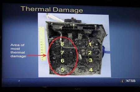 Damaged batteries are seen on a screen during a news conference on an investigation into the January 7 fire that occurred on a Japan Airlines Boeing 787 at Logan International Airport in Boston