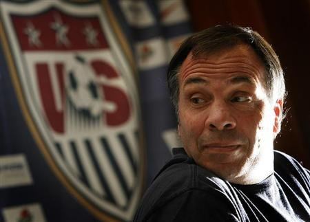 Former United States national soccer team coach Arena addresses World Cup news conference in Hamburg