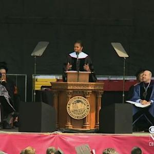 Michelle Obama tells Oberlin grads to seek out contentious issues