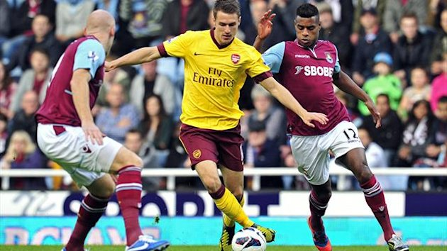 Arsenal's Welsh midfielder Aaron Ramsey (2nd L) vies with West Ham's Welsh defender James Collins (L) and Portuguese striker Ricardo Vaz Te (R) during the English Premier League football match between West Ham United and Arsenal at Upton Park (AFP)