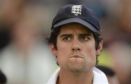 England's captain Cook waits for the presentations after England won the fourth Ashes cricket test match against Australia at the Riverside cricket ground in Chester-le-Street