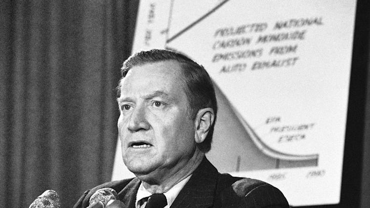 FILE - In this March 6, 1975, file photo, Environmental Protection Agency Administrator Russell Train speaks at a news conference in Washington. According to the Washington Post, Train died Monday, Sept. 17, 2012, at his farm in Bozman, Md. (AP Photo/Charles Harrity, File)