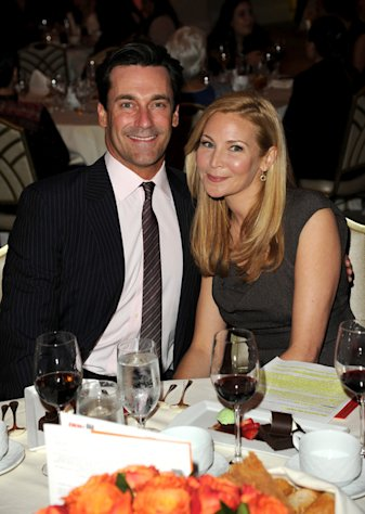 Jon Hamm and Jennifer Westfeldt attend the Courage in Journalism Awards inn Beverly Hills on October 29, 2012.