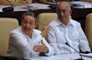 This file photo shows Cuban President Raul Castro (L) and Vice President Jose Ramon Machado, in Havana, in 2010. Iranian Vice President Ali Saeedlu has began an official visit to Cuba, following up on a trip earlier this year by President Mahmoud Ahmadinejad. Saeedlu on Monday met with Machado, after which they stressed the &quot;excellent state of bilateral ties,&quot; according to an official statement