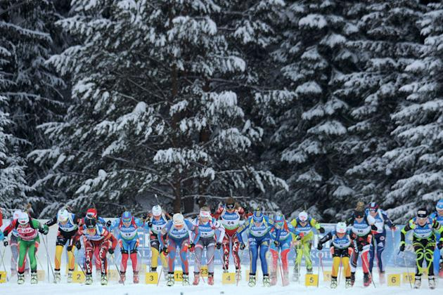 Biathletes Compete The Women's 12.5 Km Mass AFP/Getty Images
