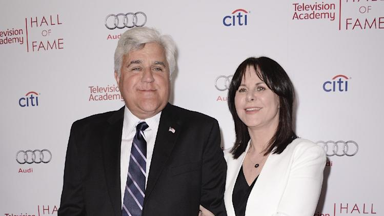 Comedian Jay Leno, left, and his wife, Mavis Leno, attend the 2014 Television Academy Hall of Fame on Tuesday, March 11, 2014, in Beverly Hills, Calif. (Photo by Dan Steinberg/Invision/AP Images)