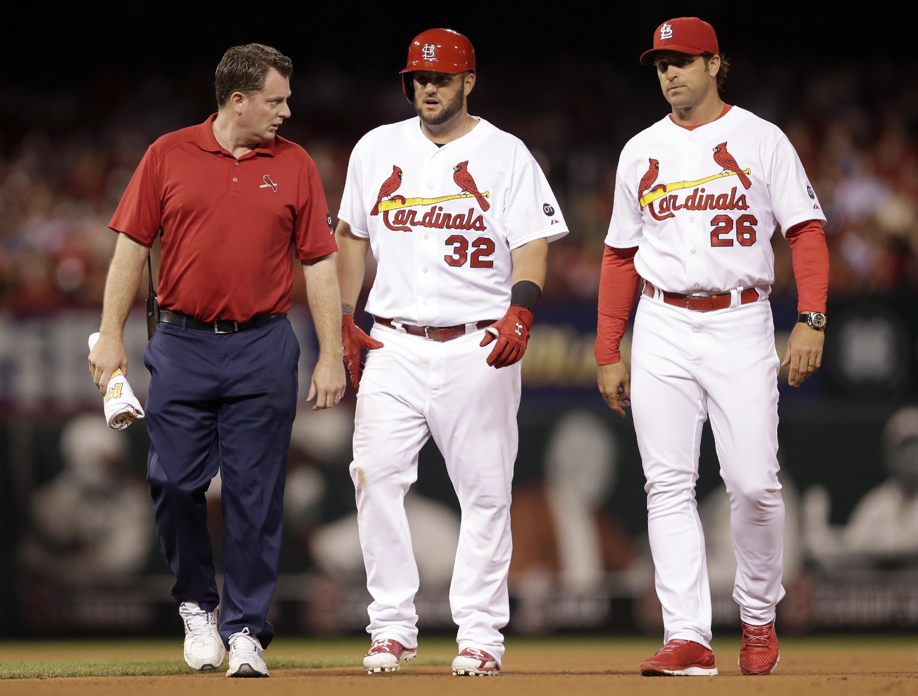Adams injured running bases, removed in 5th inning