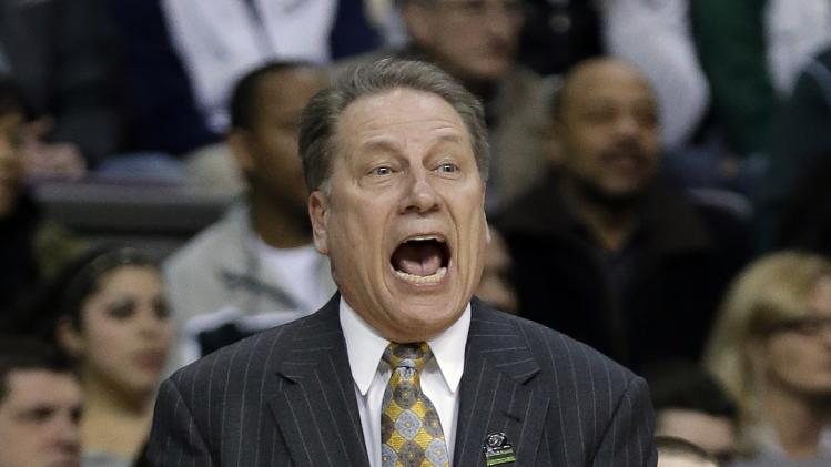 Michigan State head coach Tom Izzo yells at his team during the second half of a second-round game of the NCAA college basketball tournament against the Valparaiso in Auburn Hills, Mich., Thursday March 21, 2013. Michigan State won 65-54. (AP Photo/Paul Sancya)