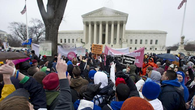 """FILE - In this Jan. 23, 2012 file photo, anti-abortion and abortion rights supporters stand face to face in front of the Supreme Court in Washington, Monday, Jan. 23, 2012, during the annual March For Life rally. There's been a lot of heated talk this year by Democrats contending that Republicans are waging a """"war on women."""" That's hyperbole, retorts the GOP, but there are indeed stark differences between the two parties over these volatile issues. However, the next president _ Obama or Romney _ could have huge influence over the future of abortion policy if vacancies arise on the Supreme Court. For example, if two seats held by liberal justices were vacated and filled by Romney-nominated conservatives, prospects for a reversal of Roe v. Wade would increase. (AP Photo/Manuel Balce Ceneta, File)"""
