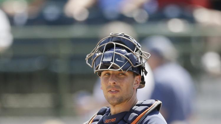 Houston Astros catcher Jason Castro is seen during a spring exhibition baseball game against the Washington Nationals in Kissimmee, Fla., Sunday, March 16, 2014. (AP Photo/Carlos Osorio)