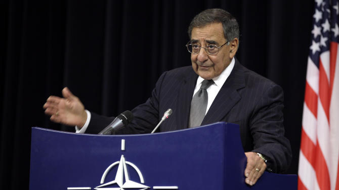 United States Secretary of Defense Leon Panetta gestures while speaking during a media conference after a meeting of NATO Defense Ministers at NATO headquarters in Brussels on Wednesday, Oct. 10, 2012. NATO defense ministers gathered in Belgium Wednesday to begin deliberating the next phase of the Afghanistan war and to hear how military commanders plan to tamp down the insider attacks that have killed or injured 130 allied forces. (AP Photo/Virginia Mayo)
