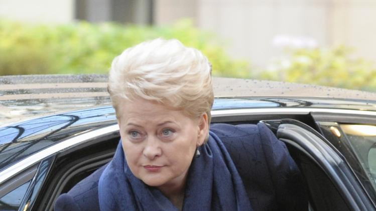 Lithuania's President Grybauskaite arrives at a European Union leaders summit at the EU council headquarters in Brussels