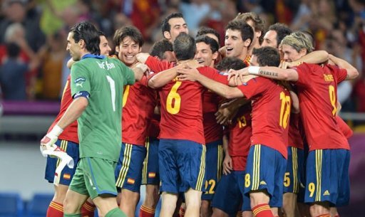 Spanish players celebrate …