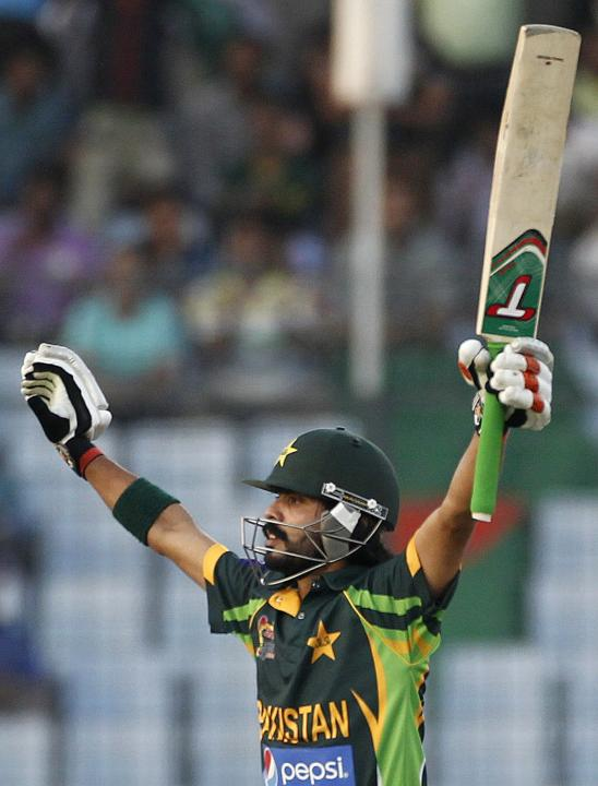 Pakistan's Alam celebrates after scoring a century against Sri Lanka during their 2014 Asia Cup final match in Dhaka