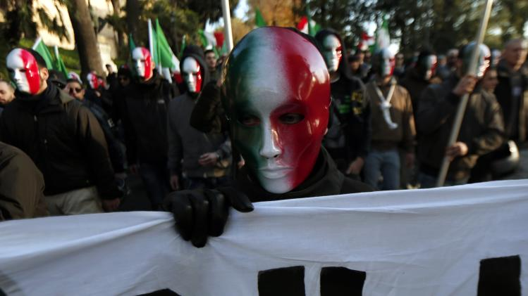 A member of Casapound far-right organization wears a mask in the colours of the Italian flag before a demonstration in Rome