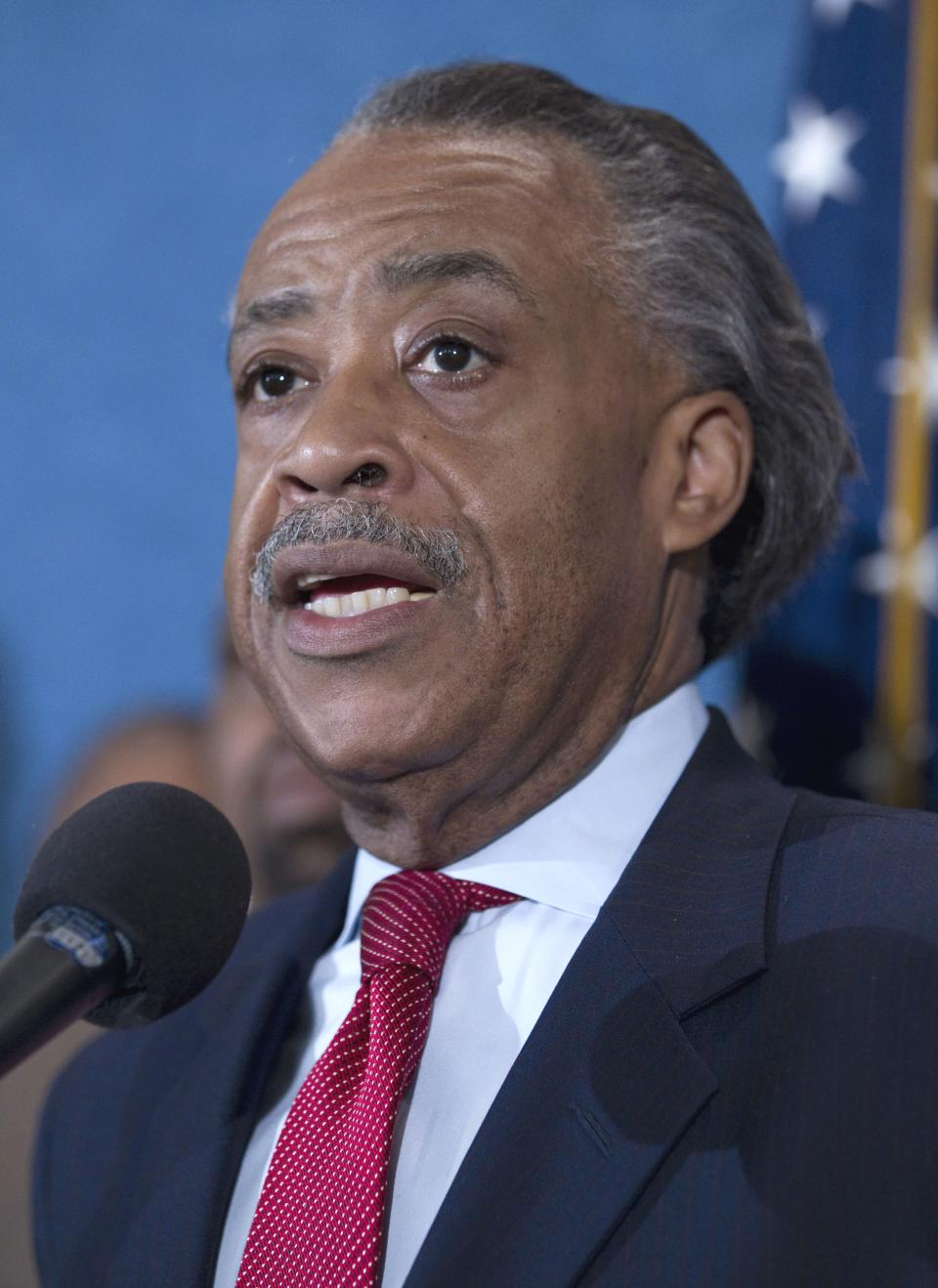 "Rev. Al Sharpton announces details of a march for ""Jobs Justice"" to be held on Oct. 15, Wednesday, Sept. 28, 2011, during a news conference at the National Press Club in Washington.  (AP Photo/Evan Vucci)"