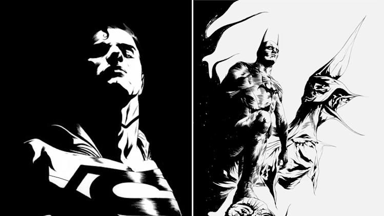 """This black and white combo image of two sketches released by DC Entertainment shows an image of Superman, left, and Batman.  DC Entertainment says it will unveil a new ongoing series focusing on Superman and Batman, two of the publisher's best-known and revered heroes. """"Batman/Superman"""" is set to debut in June and will be written Greg Pak and illustrated by Jae Lee. It will focus on how the two iconic heroes first met in the publisher's relaunched universe, dubbed The New 52. (AP Photo/DC Entertainment)"""