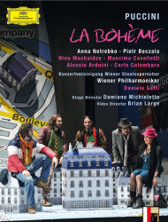 "This undated publicity photo provided by Deutsche Grammophon and Decca Classics, U.S. shows the cover of the DVD for Puccini's ""La Boheme,"" starring Anna Netrebko and Piotr Beczala from a 2012 Salzburg Festival staging of the production. Daniele Gatti leads the Vienna Philharmonic. The DVD and BluRay were released on December 11, 2012 in the US. (AP Photo/Deutsche Grammophon & Decca Classics, U.S.)"