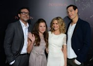 "L-R: Actors Jeffrey Dean Morgan, Natasha Calis, Kyra Sedgwick and Matisyahu arrive at the premiere of ""The Possession"" at ArcLight Cinemas in August 2012 in Hollywood, California. ""The Possession"" exorcised A-list action romp ""The Expendables 2"" from the top slot at the North American box office over the holiday weekend, industry figures released Tuesday showed"