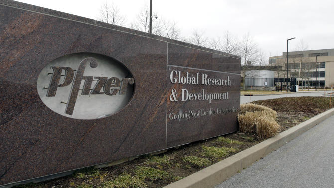 FILE - This Friday, March 2, 2012 file photo shows the exterior of Pfizer in Groton, Conn. Pfizer Inc. Pfizer Inc. reports quarterly financial results before the market opens on Tuesday, April 30, 2013. (AP Photo/Elise Amendola)