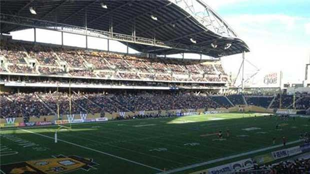 Investors Group Field was only half full at the end of the first quarter on Wednesday evening, with thousands of fans still trying to get near the new stadium.