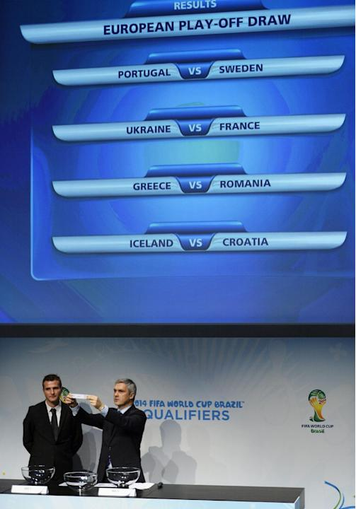 Former Swiss soccer player Alexander Frei, left, and Gordon Savic, right, head of FIFA World Cup Qualifiers, are photographed in front of a screen showing the matches to be played during the draw for