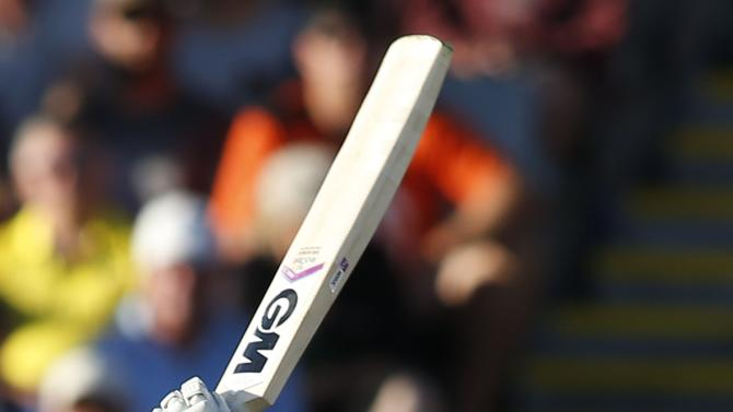 New Zealand's Corey Anderson hits out against Australia in their Cricket World Cup match in Auckland