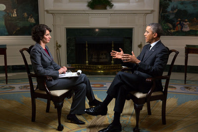 President Barack Obama participates in an Affordable Care Act interview with Lisa Zamosky for WebMD in the Diplomatic Reception Room of the White Hous...