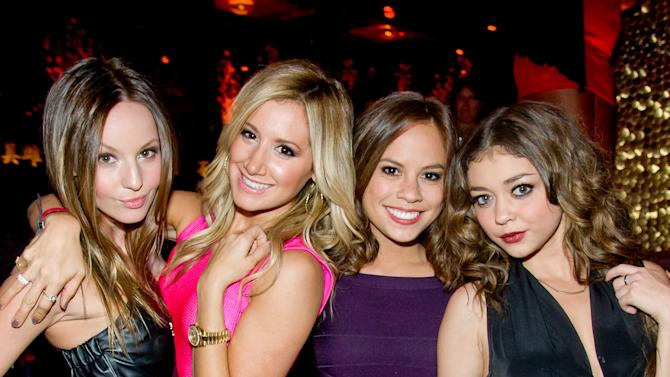 Ashley Tisdale and Sarah Hyland seen at Tao Nightclub on Friday, Nov. 9, 2012, in Las Vegas. NV (Photo by Powers Imagery/Invision for TAO/AP Images)