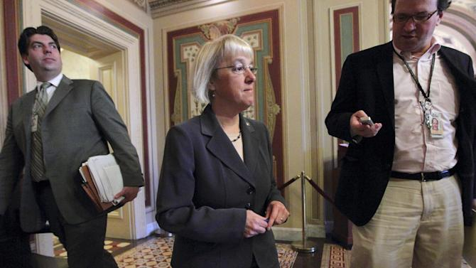 Supercommittee Co-Chair Sen. Patty Murray, D-Wash. arrives for a closed-door meeting with Democratic Supercommittee members, Wednesday, Nov. 16, 2011, on Capitol Hill in Washington.  (AP Photo/J. Scott Applewhite)