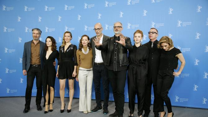 Director Cote and cast members pose during photocall at 66th Berlinale International Film Festival in Berlin