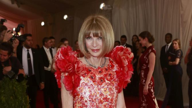 "Anna Wintour arrives at the Metropolitan Museum of Art Costume Institute Gala 2015 celebrating the opening of ""China: Through the Looking Glass,"" in Manhattan"