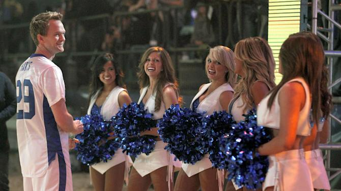 Actor Neil Patrick Harris, left, talks with Indianapolis Colts cheerleaders before the start of the Celebrity Beach Bowl during festivities for NFL football's Super Bowl XLVI, Saturday, Feb. 4, 2012, in Indianapolis. The New York Giants will face the New England Patriots in the Super Bowl on Feb. 5. (AP Photo/Jeff Roberson)