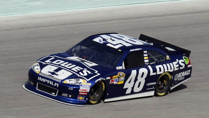 Jimmie Johnson practices for Sunday's NASCAR Sprint Cup Series auto race at Homestead-Miami Speedway in Homestead, Fla., Friday, Nov. 16, 2012. (AP Photo/Alan Diaz)